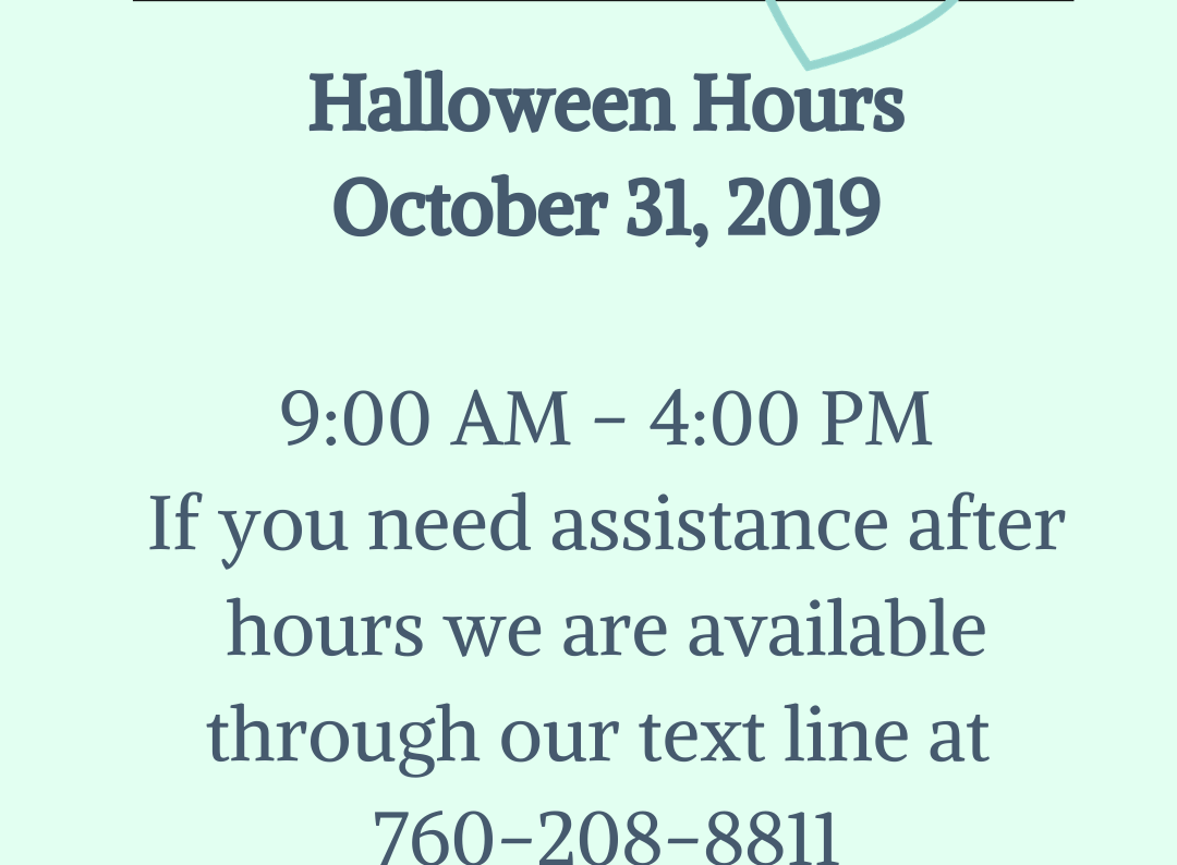 Hours Of Operation    October 31, 2019